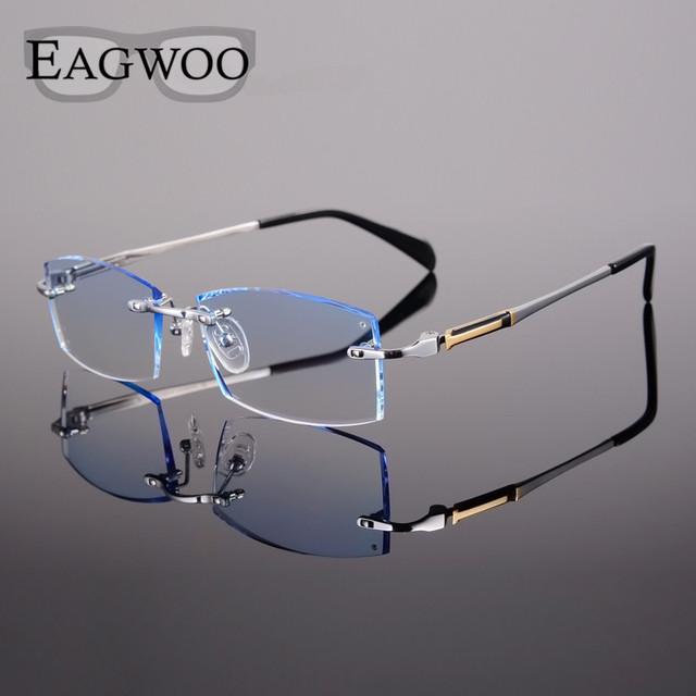 Titanium anteojos hombres miopía prescripción sin montura de lectura progresiva fotosensibles gafas de ancho grande montura de gafas con lentes de color
