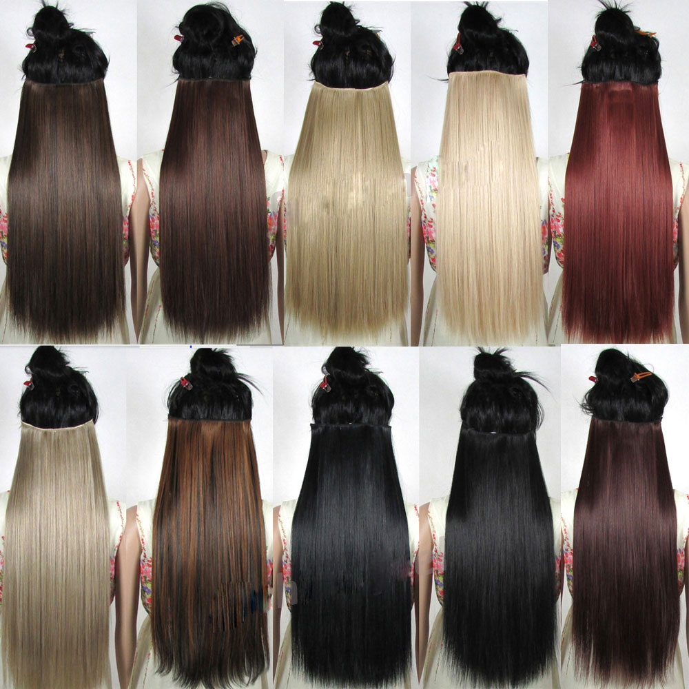 S-noilite Hair Extensions Black Brown Natural Straight 58-76cm Long High Tempreture Synthetic Hair Extension Hairpiece
