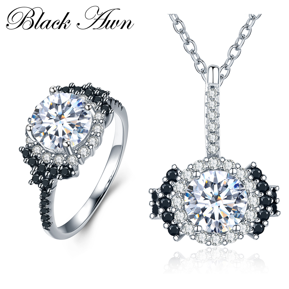 [HITAM AWN] 925 Sterling Perhiasan Perak Set Trendy Engagement Kalung - Perhiasan bagus