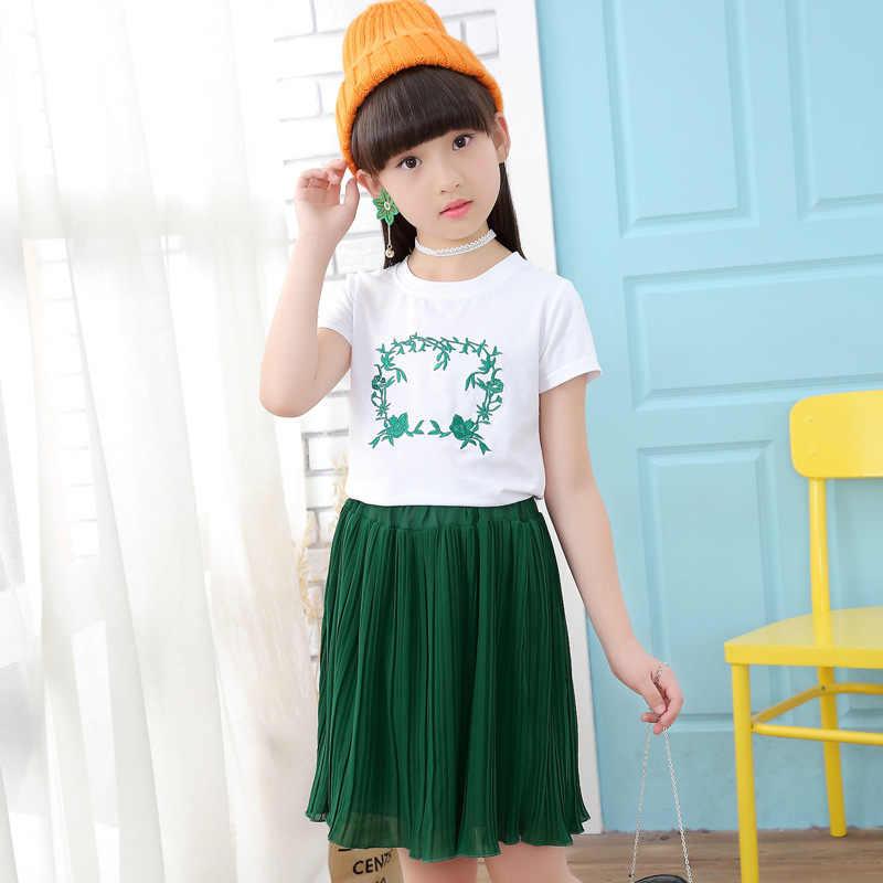 d77129f9fa2 Set Clothes For Girls White Shirt + Chiffon Skirt 2PCS Girl Summer Clothes  Teenage Kids Tracksuit