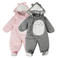 Newborn Clothes Baby Rompers One Piece Thick Hooded Warm In Autumn Winter Romper Animal Style Totoro