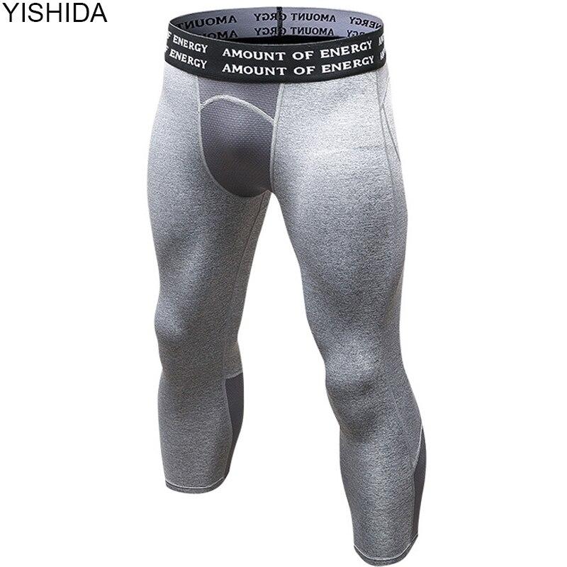 Yishida Для Мужчин's бодибилдинг Колготки 3/4 Для мужчин Леггинсы для женщин Компрессионные колготки Бег Колготки количество энергии эластичные Штаны тренажерный зал брюки