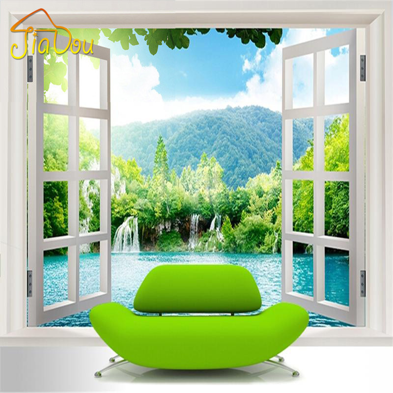 Custom 3D Mural Wallpaper Window 3D Waterfalls Forest View Art Mural Living Bedroom Hallway Children's Room Photo Wallpaper free shipping river stone waterfalls 3d floor tiles wear non slip moisture proof bedroom living room kitchen flooring mural