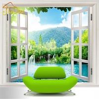 Custom 3D Mural Wallpaper Window 3D Waterfalls Forest View Art Mural Living Bedroom Hallway Childrens Rooms