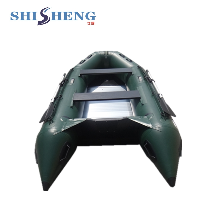 Cheap inflatable boat with paddles 300cm for sale! 2017 aluminum floor inflatable folding boat 300cm army green and black for sale