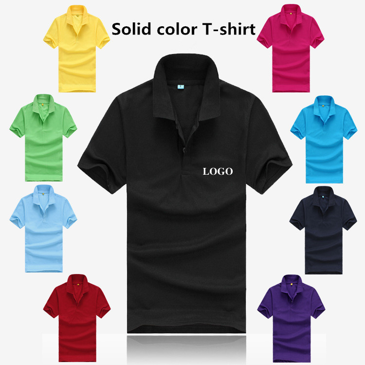 2015 new solid color t shirt men 39 s short sleeve polo shirt for One color t shirt