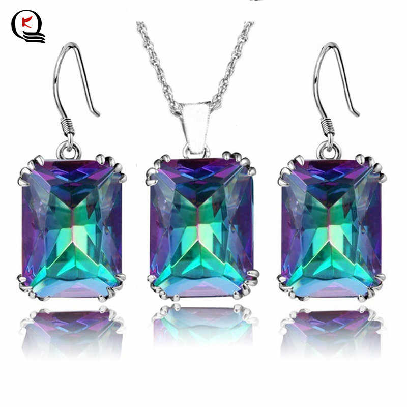 Women's Fashion Jewelry Sets Multi Color Crystal Pendant Necklace Earrings Trendy Wedding Party Gifts Jewelry Sets For Female