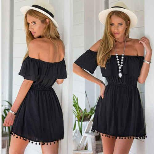 2019 חדש מכירה לוהטת האחרון קיץ אופנה נשים מכתף חוף Boho מיני שמלת מסיבת קוקטייל שמלה קיצית