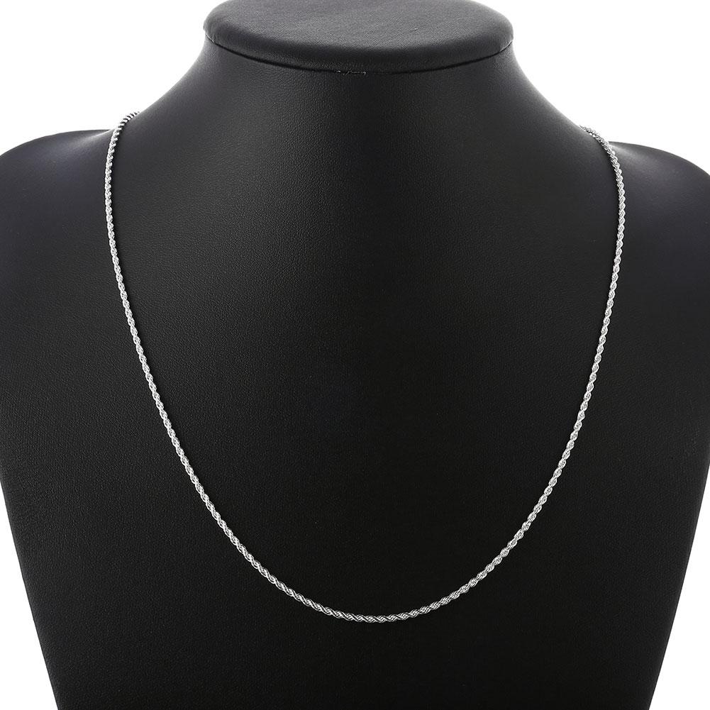Hot Penjualan Eceran Grosir Super Shiny Perak Kalung Wanita Pria - Perhiasan fashion - Foto 6
