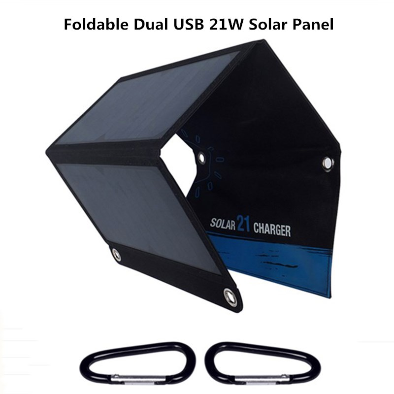 Affichage numérique 5 V 21 W panneau solaire pour IOS Android téléphones mobiles pliable batterie portable solaire double USB chargeur solaire