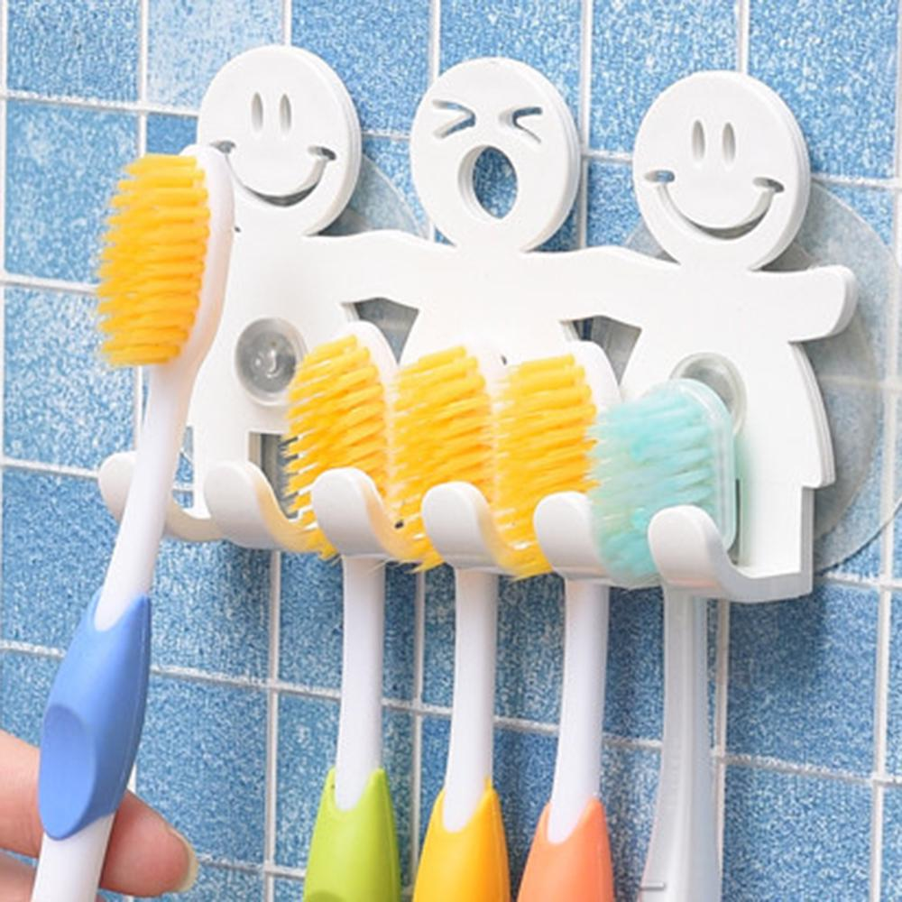 Cartoon Cute Smile Face Sucker 5 Position Toothbrush Holder Suction Hooks Bathroom Accessories Family Set Wall Toothbrush holder image