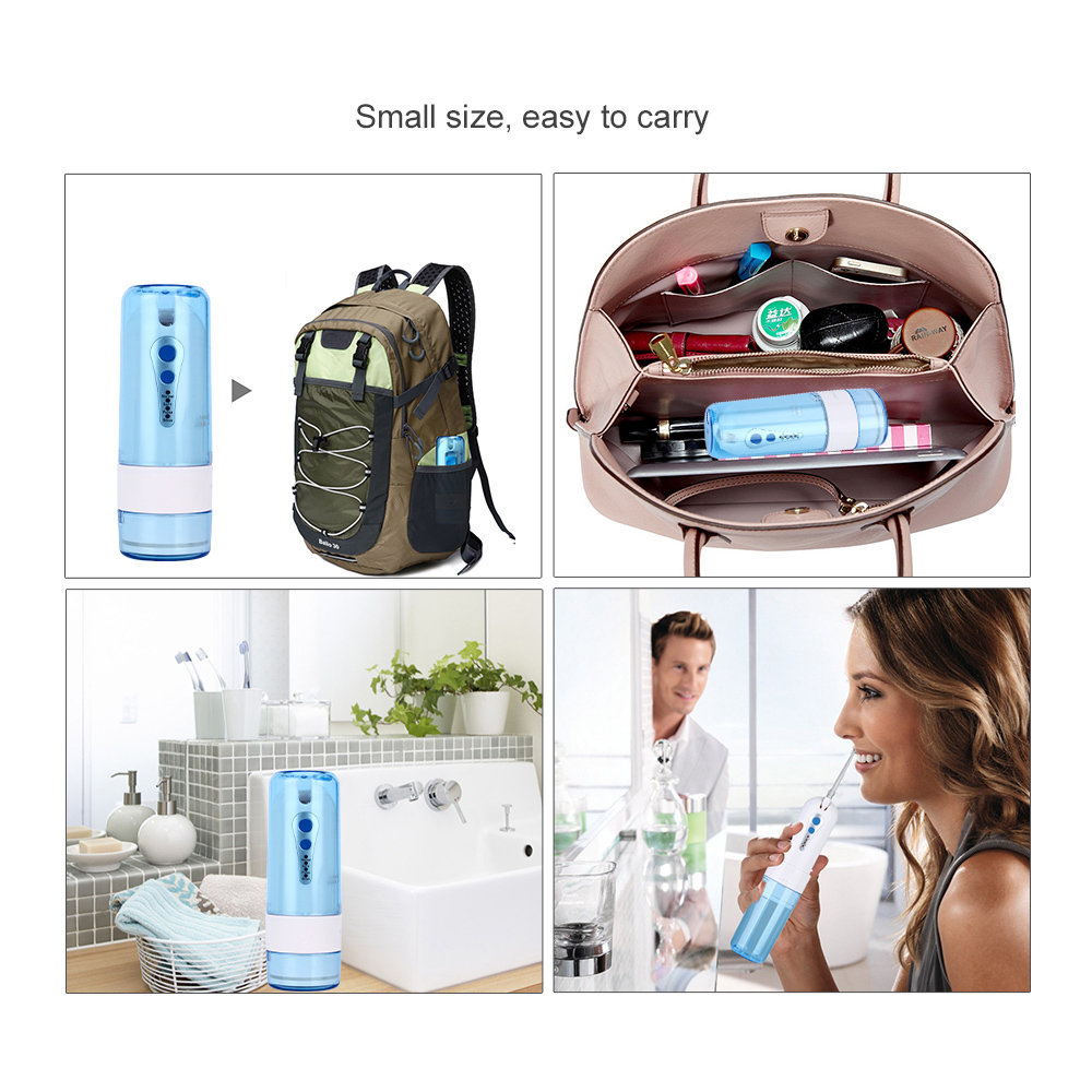 AZ-007 Cordless Water Dental Flosser Portable Fold Oral Irrigator with Travel Case Bag Tooth Pick Irrigation Nose Cleaner 5 Tips 5