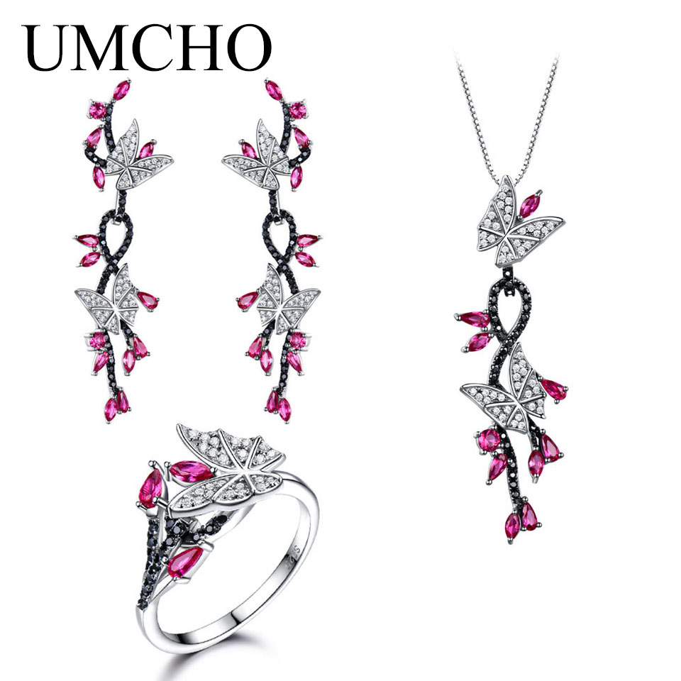 UMCHO Created Ruby Butterfly Jewelry Sets 925 Sterling Silver Jewelry Elegant Necklace Rings Earrings For Women