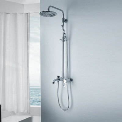 Ems Free Shipping Single Handle Double Shower Rainfall Bathroom Faucet Set H01030024