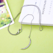 Bohemia Minimalist Long Crystal Moon Necklace & Pendants For Women Silver Color Charm Choker Necklaces Jewelry Accessory In Box(China)