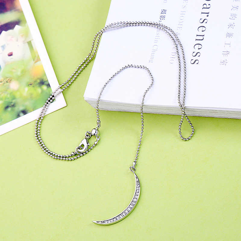 Bohemia Minimalist Long Crystal Moon Necklace & Pendants For Women Silver Color Charm Choker Necklaces Jewelry Accessory In Box