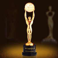 Customized Metal Trophy Sculpture Ball Games Awards Raising Earth Model Men Statue Home Decoration