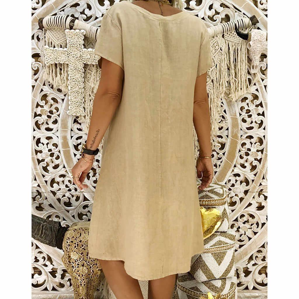 LIVRE AVESTRUZ Das Mulheres de Linho de Algodão Vestido de Verão Plus Size Estilo Curto Ocasional Das Senhoras Do Joelho-Comprimento Com Decote Em V Soltas As Mulheres Se Vestem