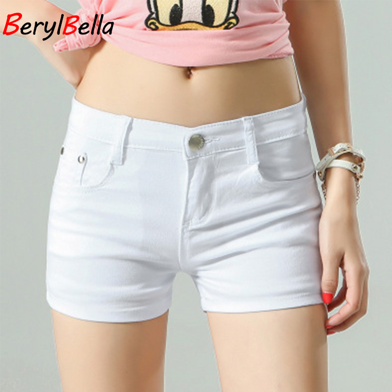 Summer Women Shorts Slim Elastic Waist Beatch Cotton Shorts For Women Elegant Female Beach Cotton Shorts  Casual Pantalon