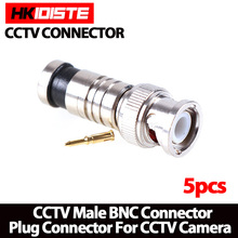 2017.Hot sale,new arrival ,5Pcs/lot BNC Connector BNC To RG59 Male Comprassion Coax Connector ,free shipping