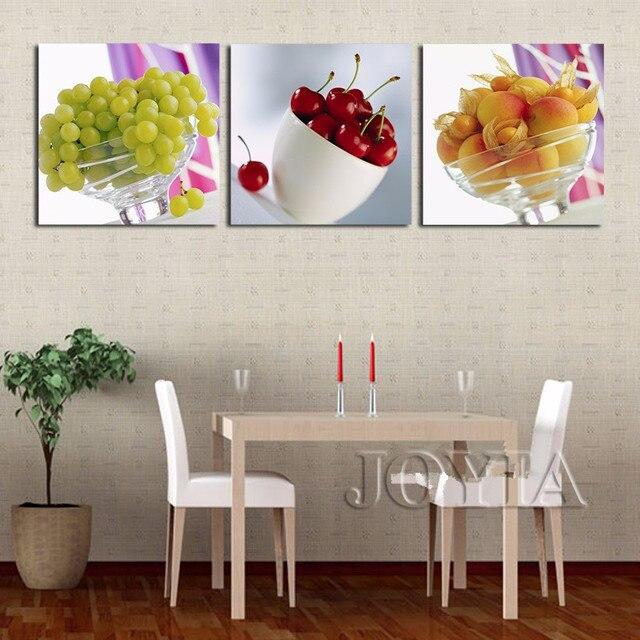US $5.81 45% OFF 3 stück Küche Obst Leinwand Art Realist Kombination  Gemälde Auf Die Wand Trauben Kirsche Bilder Hause Wohnzimmer Dekoration  Kein ...