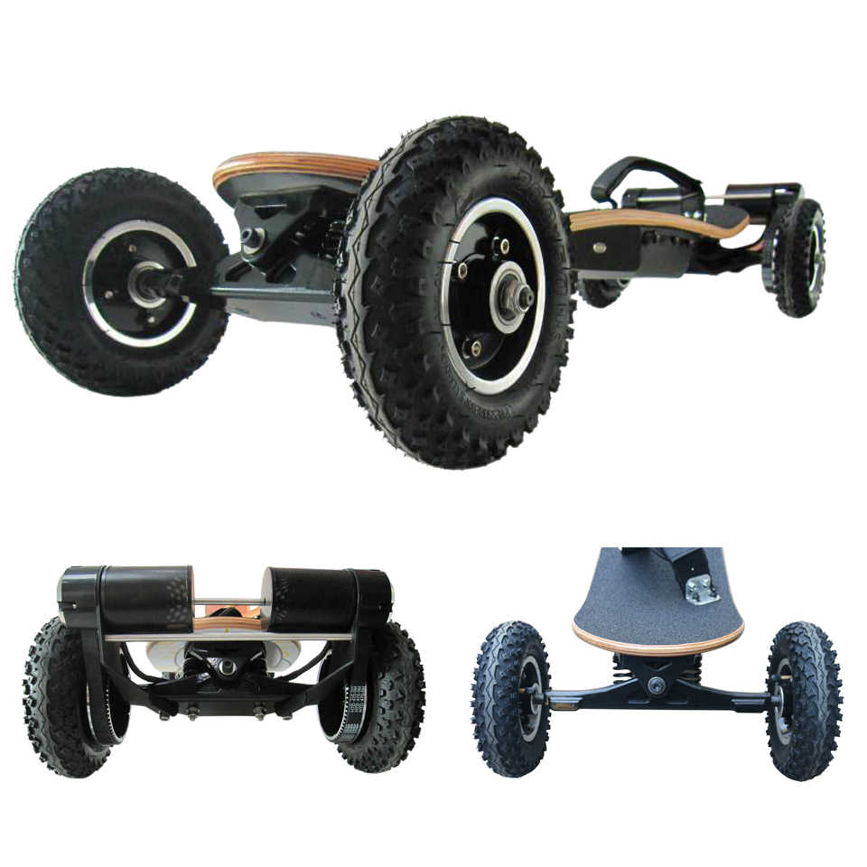 4 Wheels Electric Skateboard Mountain Board Off Road 36v Lithium Battery 2 Layers Bamboo And