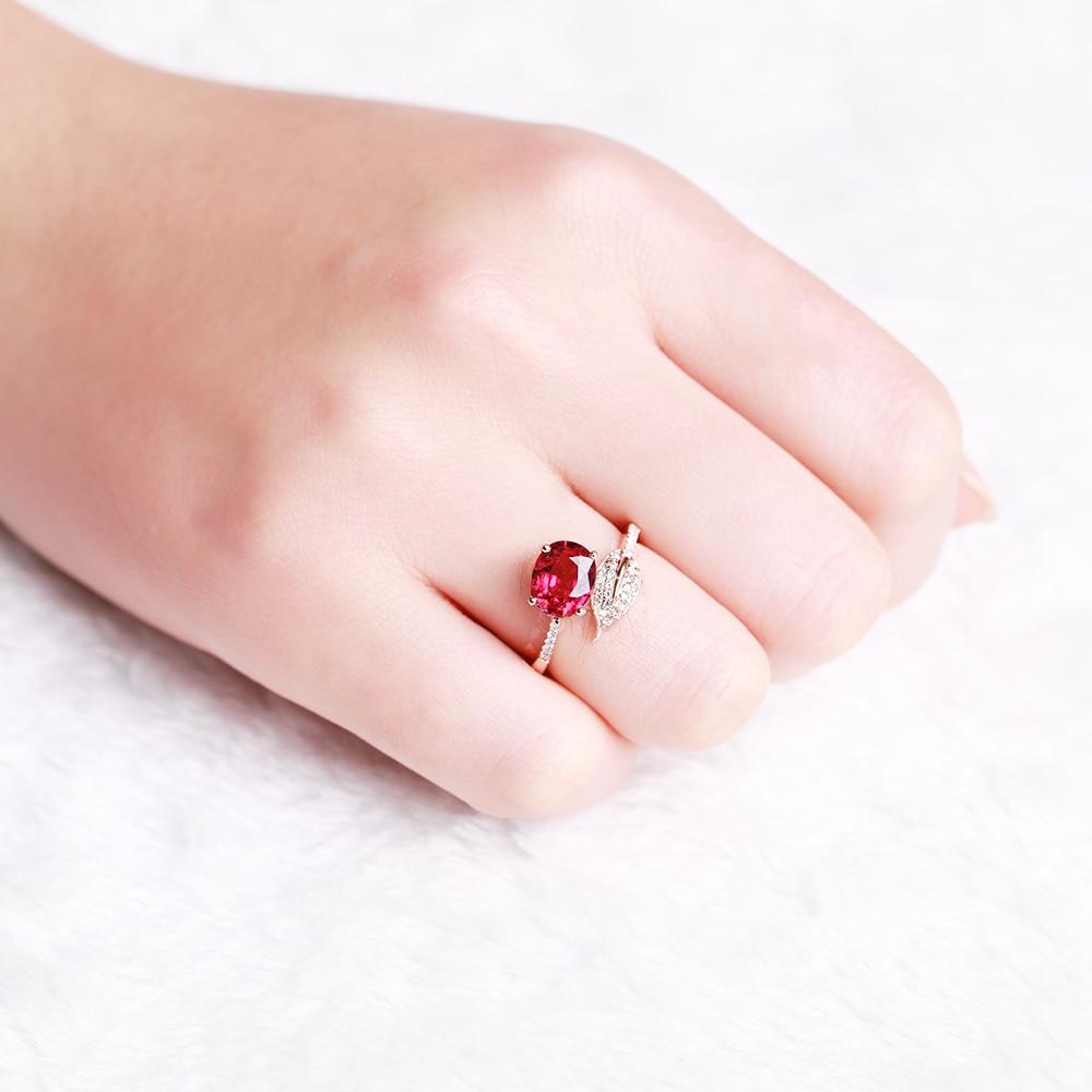GVBORI 18K Red Gemstone Ring Inlaid With Diamond Red Tourmaline Rose ...