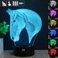 Caballo de Luz Nocturna en 3D RGB Cambiable Mood Lámpara de Luz LED dc 5 v usb lámpara de mesa decorativa consigue un free remote control