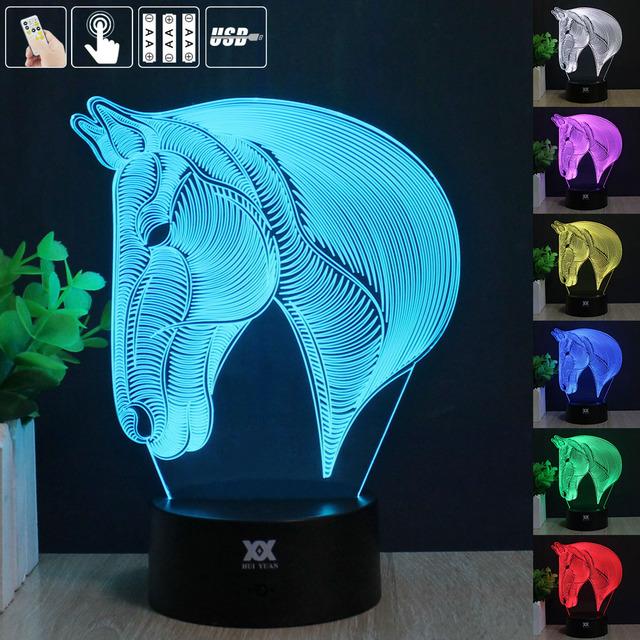 Cavalo 3D Night Light RGB Mutável Lâmpada de Humor e LEVOU Luz dc 5 v usb candeeiro de mesa decorativo obter um free remoto controle