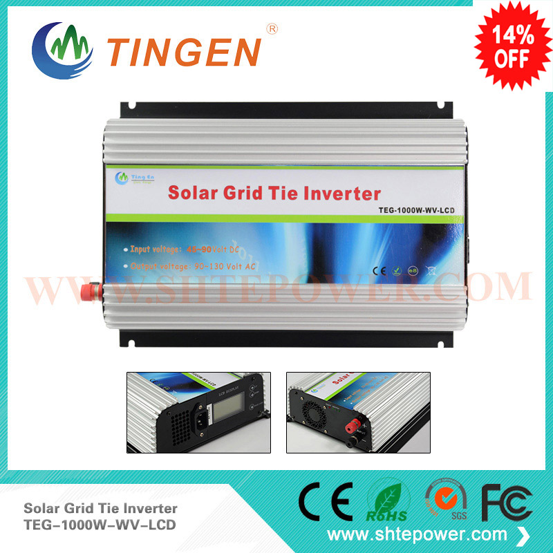 solar power grid tie inverter with lcd display 1000w dc48v input to output 100v 110v 120v 220v 230v 240v use 300w solar grid on tie inverter dc 10 8 30v input to two voltage ac output 90 130v 190 260v choice