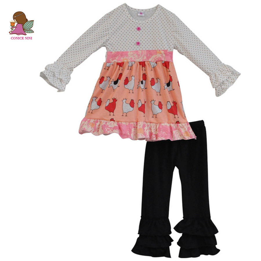 2018 New Cute Animal Chicken Print Kids Girls Outfits Newborn Baby Dress Black Ruffle Pants Toddler Children Clothing Sets F100 2017 new fall mustard yellow children sets ruffle butterfly sleeves infants clothing baby girl nursing accessory apparel