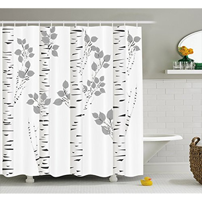 Vixm Birch Tree Shower Curtain Artistic White Branches With Leaves Autumn Nature Forest Inspired Print Fabric Bath Curtains