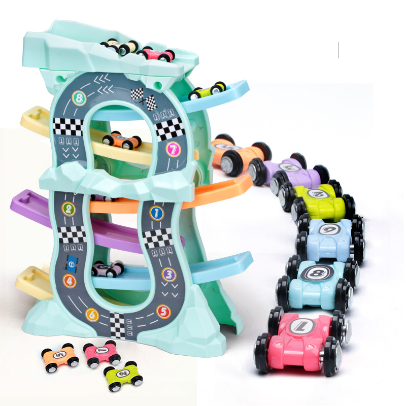 Gliding Cars Racing Games Toddler Toys For 1 2 Year Old Boy And Girl Gifts Wooden Race Track Car Ramp Racer With 4 Mini Cars