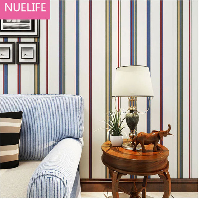 0,53x10 Meter England art striped muster tapete schlafzimmer ...