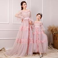 Flower Mother Daughter Dresses Wedding Clothes Mom and Me Dress Ball Gown Mum Girls Evening Dress Family Matching Outfits