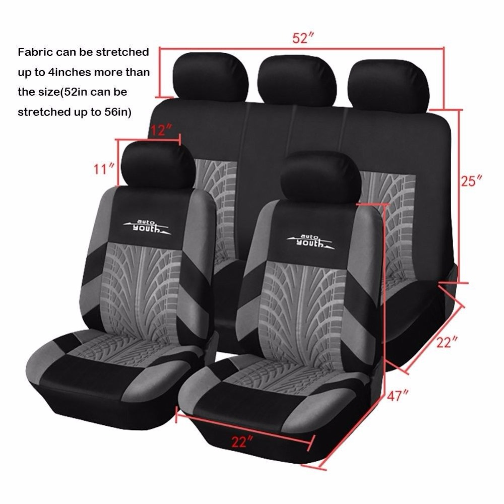Image 4 - AUTOYOUTH 3 Colour Track Detail Style Car Seat Covers Set Polyester Fabric Universal Fits Most Cars Covers Car Seat Protector-in Automobiles Seat Covers from Automobiles & Motorcycles