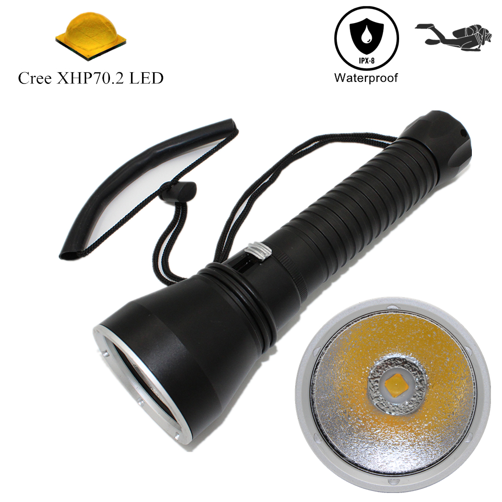 Dive Flashlight XHP70 2 LED Flashlight Yellow Light Diving Torch Waterproof Spearfishing Lamp Underwater Hunting Lanterna