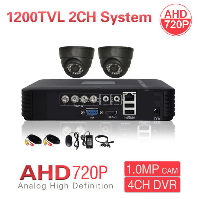 Home CCTV 2CH AHD 720P 1200TVL Security Camera System 4CH HD Hybrid DVR Color Video Surveillance Kit, P2P Phone PC Mobile View