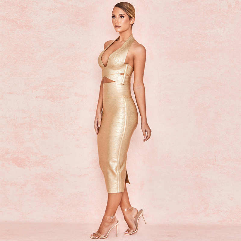 a9629759d5580 New Chic Sexy Bodycon Strap Spaghetti Gold Foil 2 Pieces Set Women Bandage  Dress Party Outfit Casual Clothing Vestido Wholesale