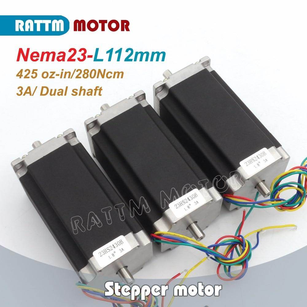 цена на EU Delivery! 3PCS Nema23 CNC stepper motor(Dual shaft) 112mm /425 Oz-in /3A CNC stepper motor stepping RATTM MOTOR