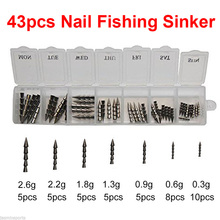 43pcs 100% Tungsten Nail Pagoda Fishing Sinker Small Thin Worm Weights Sinkers Insert Into Soft Plastic Lures Set With Box