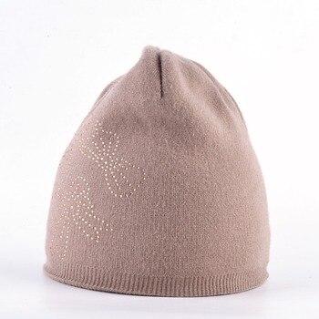 Autumn Winter Beanie Hats For Women Knitted Rabbit Wool Beanies Female Rhinestone Butterfly Bonnet Hat Ladies Outdoors Skullies 2