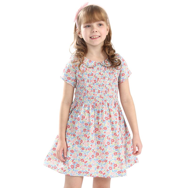 Summer Flower Pattern Printed Baby Girls Red Dress Party Boutique Smocking Dress for Girls Clothes Petticoat Floral Dress floral printed empire waist dress with tube top