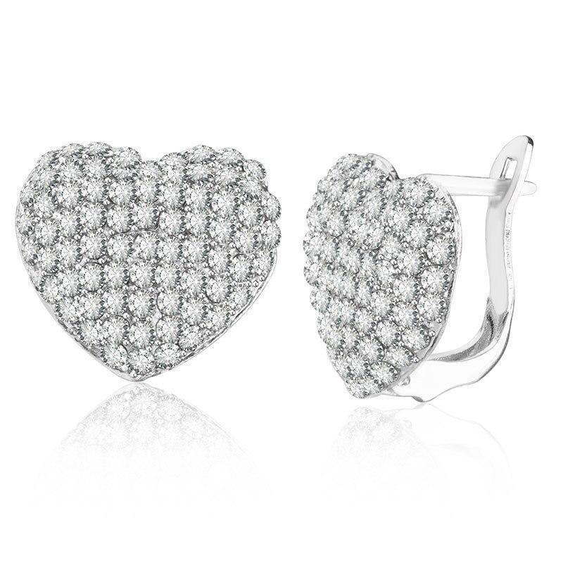 Gold Silver Color Zircon Heart Shaped Stud Earrings For Women Girls Rhinestone  Crystal Charm Earring Lady eb022ce6ee15
