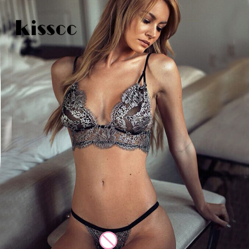 KISSCC Sexy Lace Hollow Out   Bra     Sets   Voile   Brief   G-string Underwear T-back Black Gray Lace   Bra   &   Brief     Set