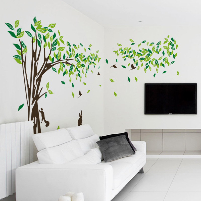 ... New Wall Decor Giant Tree Wall Sticker Green Lifesize Trees Wall Decals  Vinyl Wall Art Home ... Part 42