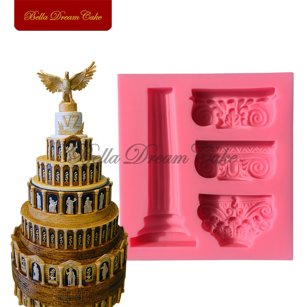 Arkitektura Romanesque Cake Mould Cake Fondant Fondant Ujdisje Mould 3D Plaster Mould Sugarraft Tools Moulds Soap SM-558