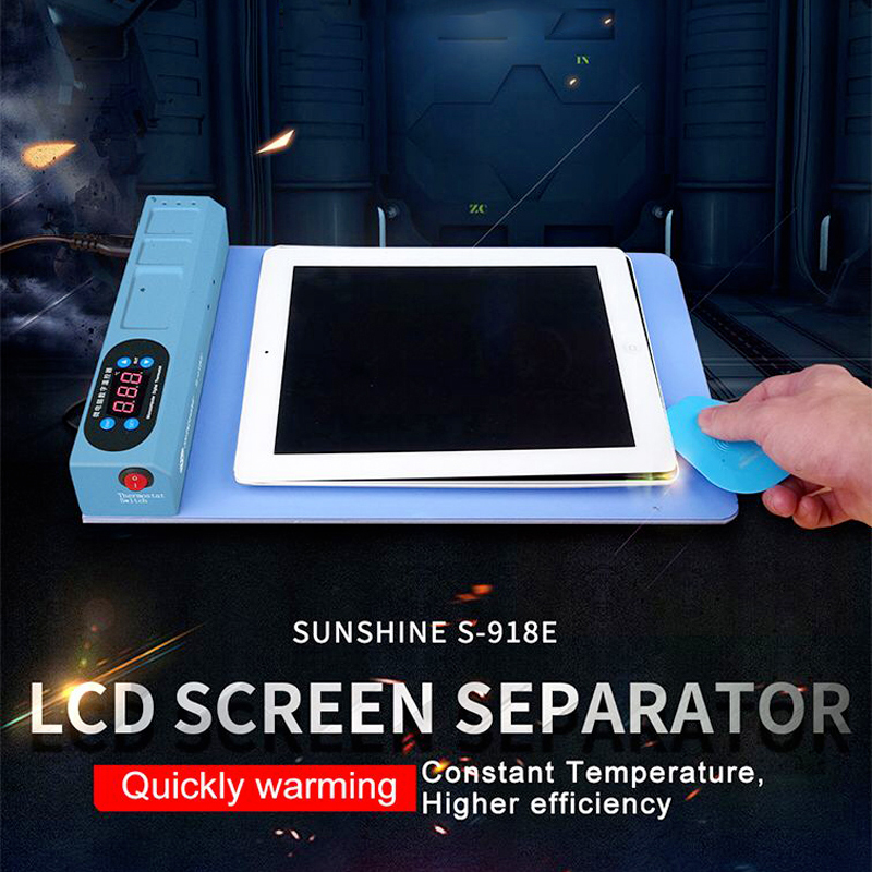 SUNSHINE S 918E LCD Blue Screen Splitter Heating Stage Separator Pad For iPhone iPad LCD Screen Separator Tool-in Power Tool Accessories from Tools    1