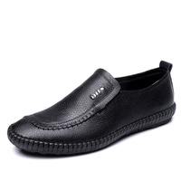 2018 New Men's Cow Leather Loafers Soft Shoes Man Casual Slip on Old Man Loafers Men Genuine Leather Shoes