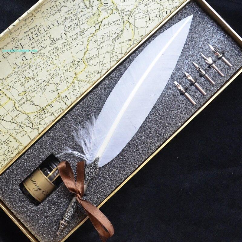 Stylo plume blanc de haute qualité avec 5 plumes 1 Signature d'encre calligraphie cadeau de mariage stylo Dip